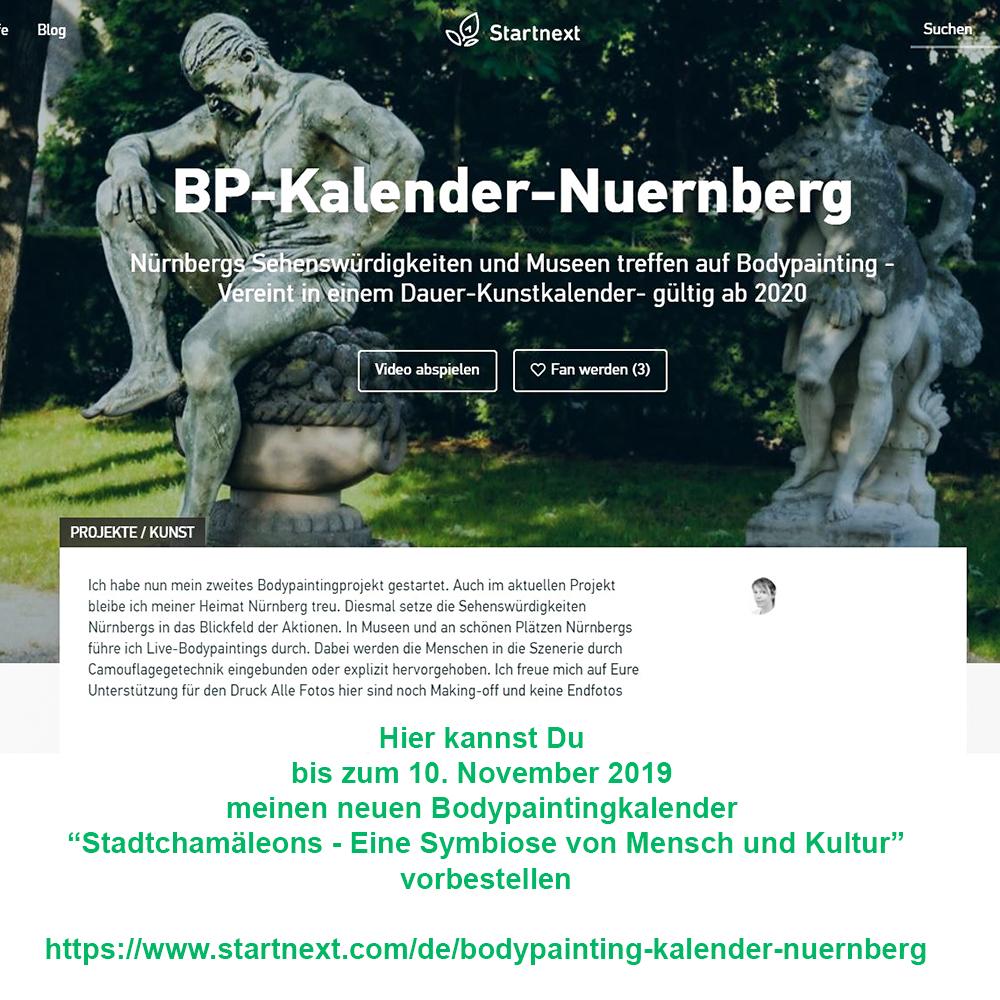 """Crwodfunding für neuen Bodypaintingkalender """"Stadtchamäleons – Eine Symbiose von Mensch und Kultur"""" in Nürnberg bis 10. November 2019"""