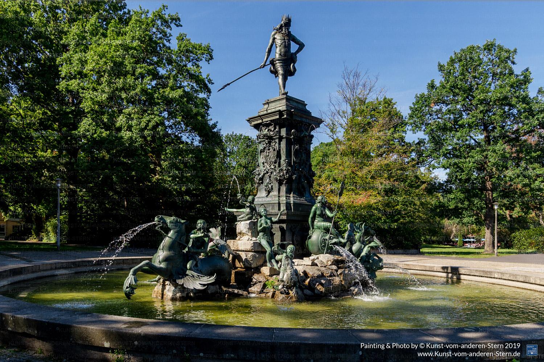 Bodypainting am Neptunbrunnen im Stadtpark Nürnberg – Stadtchamäleons