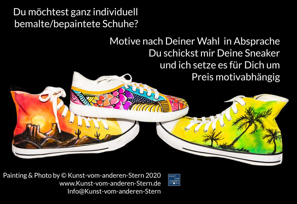 Schuhe bunt und individuelle bepaintet