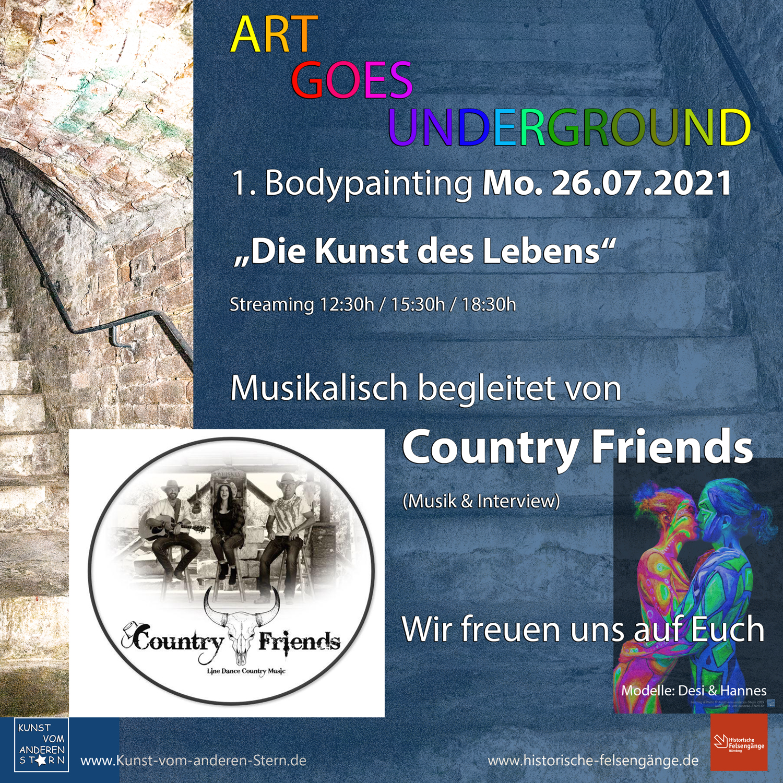 "Bodypainting-Projekt 2021 – Art goes underground- 1. Bodypainting 26.07.2021 mit den ""Country Friends"""