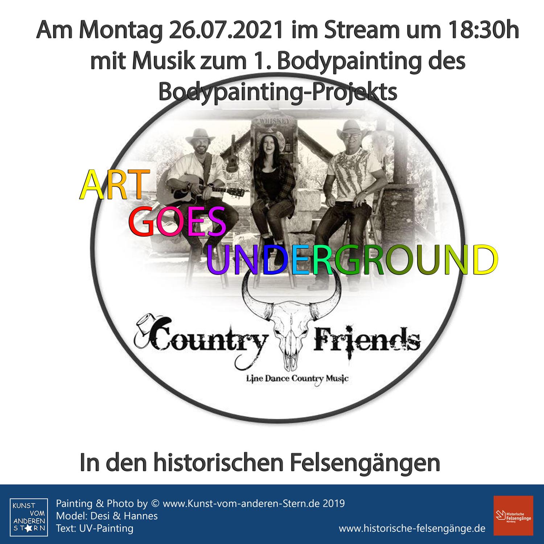 Bodypainting-Projekt – Art goes underground – Eröffnung am 26.07.2021 mit den Country Friends