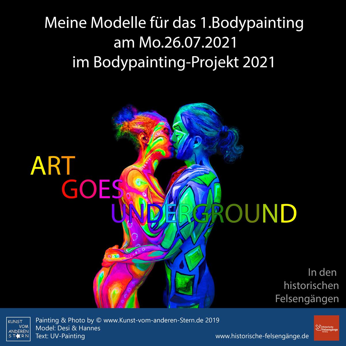 Bodypainting-Projekt 2021 – Art goes Underground – Modelle 1. Event